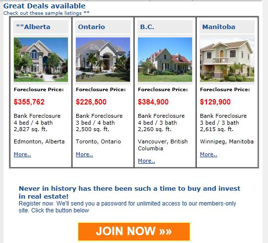 Sample homes for sale listings under foreclosure in Canada.